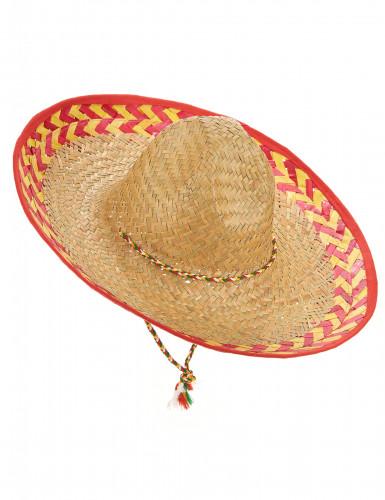 Mexikanischer Stroh-Hut Sombrero beige-rot