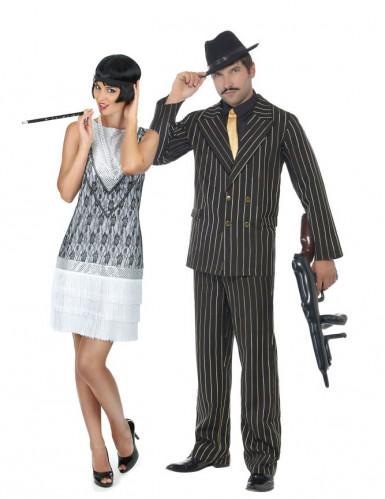 20er jahre gangster gruppenkost m f r paare schwarz weiss lila. Black Bedroom Furniture Sets. Home Design Ideas