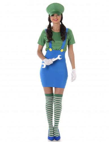 Videospiel Klempnerin-Damenkostüm Karnevalskostüm blau-grün