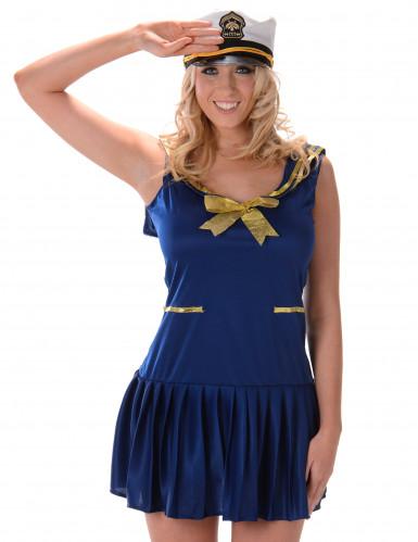 Verführerisches Marine Kostüm für Damen blau-gold-1