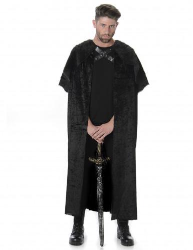 Mittelalter-Krieger Fell-Umhang Nachtwächter schwarz