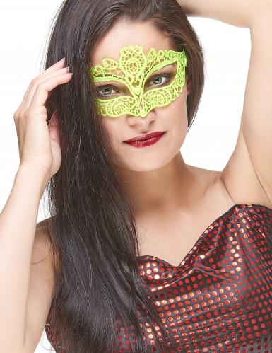 Venezianische Augenmaske Spitze Damen neongelb
