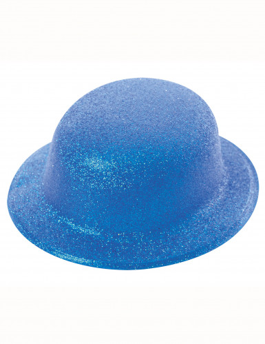 Glitzer Melone Hut für Erwachsene blau
