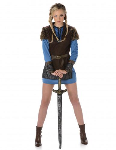 Wikingerin Mittelalter Damenkostüm Tochter des Nordens braun-blau