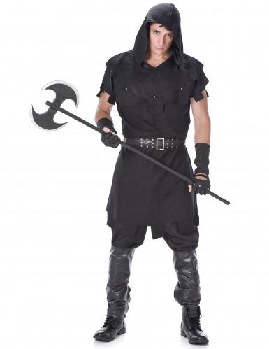 Mittelalterliches Henker-Kostüm für Herren Halloweenkostüm schwarz