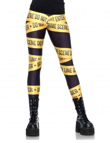 polizei absperrband leggings crime scene damenleggings schwarz gelb g nstige faschings. Black Bedroom Furniture Sets. Home Design Ideas