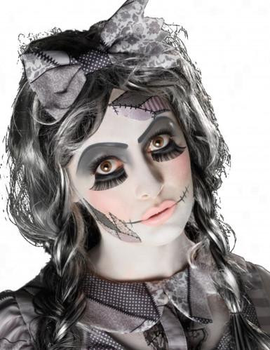 Gruselige Puppe Halloween Schmink-Set weiss-grau-schwarz
