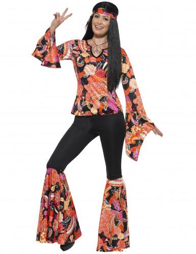 70er-Jahre Flower-Power Damenkostüm Hippie schwarz-orange-rot