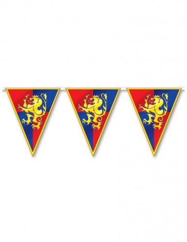 Mittelalter-Girlande mit Löwen-Wappen gelb-rot-blau 3,7m