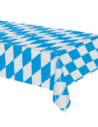 Oktoberfest Tischdecke aus Kunststoff blau-weiss