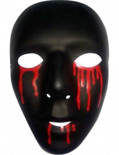 Halloween Theatermaske Herren blutend schwarz-rot