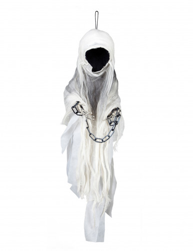 Gesichtsloser Geist Halloween-Deko weiss-schwarz 100cm