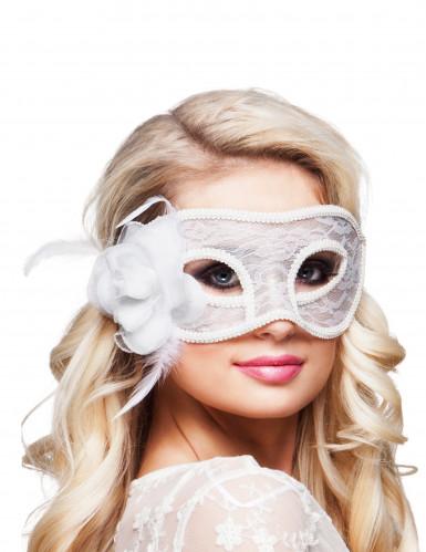 Venezianische Augenmaske Spitze mit Rose weiss