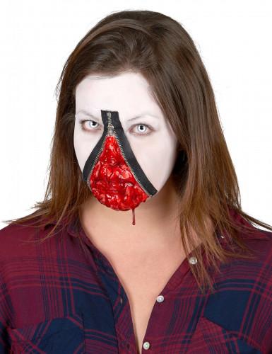 Gruselige Wunde mit Reißverschluss Halloween Make-up grau-rot