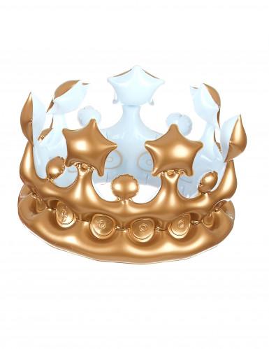 Aufblasbare Krone Kostüm-Zubehör gold-weiss