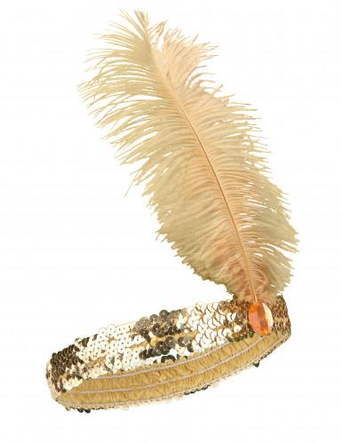 Charleston Pailletten-Stirnband Feder gold