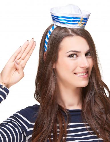 Matrosin Haarreif mit Minihut weiss-blau-gold