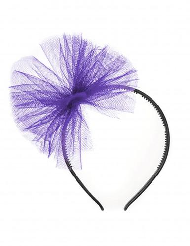 Haarreif mit Tüll für Kinder lila-schwarz , günstige Faschings ...