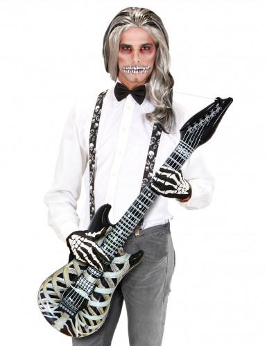Aufblasbare Luftgitarre Skelett Rockstar schwarz-weiss 105cm