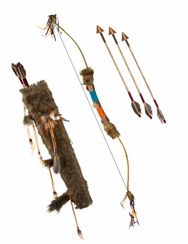 Indiander-Bogen mit Köcher und Pfeilen braun