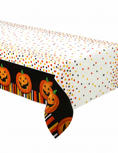 kinder halloween tischdecke k rbis weiss orange bunt 213x137cm g nstige faschings partydeko. Black Bedroom Furniture Sets. Home Design Ideas