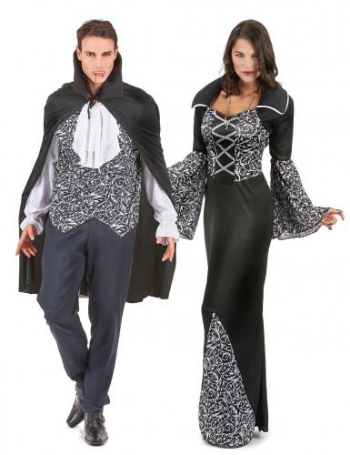 Edler Vampir-Paarkostüm Halloween schwarz-weiss