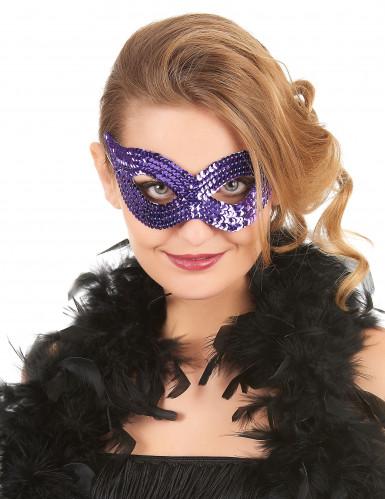 Augenmaske mit Pailletten lila