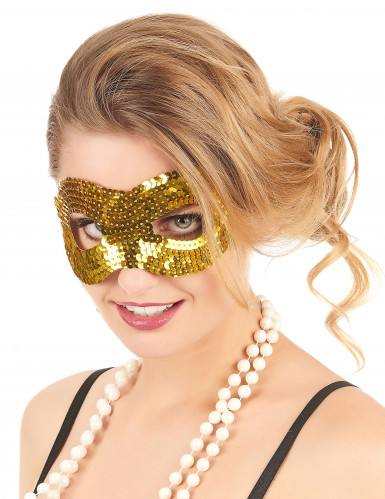 Pailletten Halbmaske Glitzermaske gold