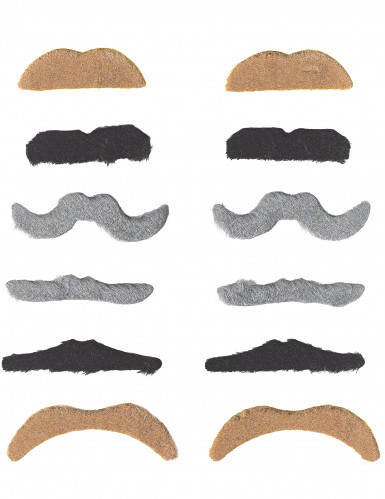 Schnurrbart Set für Erwachsene 12 Stück braun-grau-schwarz