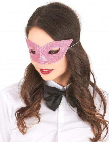 Venezianische Augenmaske Glitzer rosa