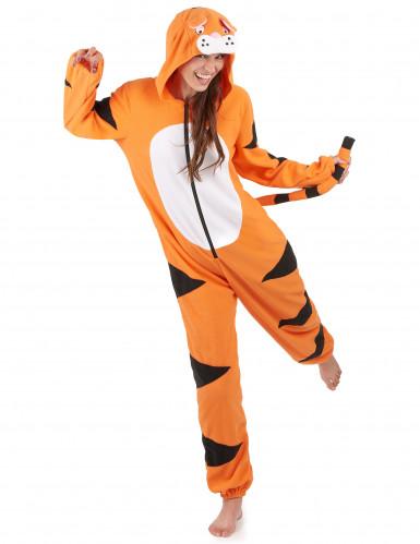 Tiger Onesie Damenkostüm Overall orange-schwarz