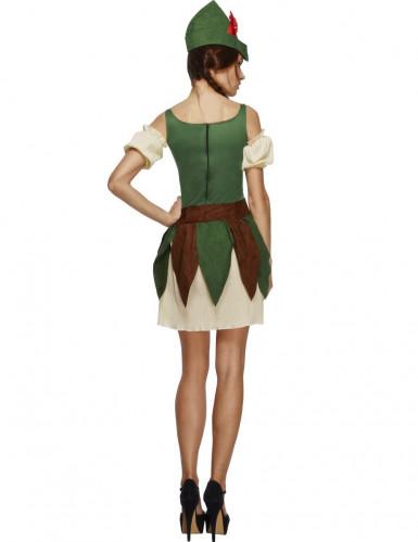 Sexy Waldmädchen Damenkostüm Jägerin beige-grün-braun-1