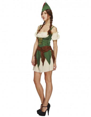 Sexy Waldmädchen Damenkostüm Jägerin beige-grün-braun-2