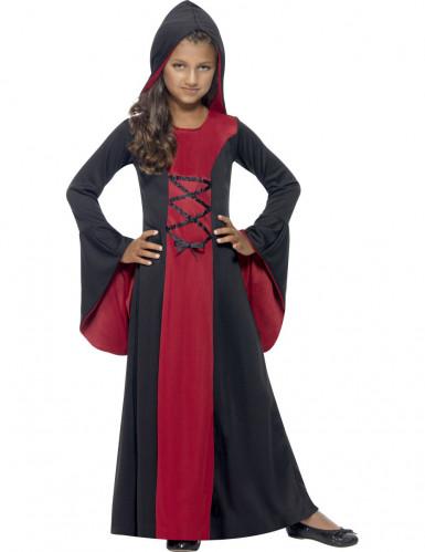 Edle Vampirin-Kinderkostüm Halloween rot-schwarz