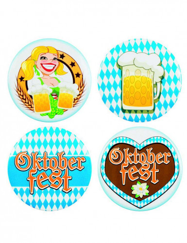Oktoberfest Buttons 4-teilig bunt