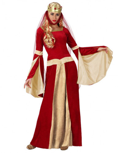 Kostüm Burgfräulein für Damen rot-gold