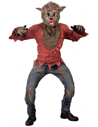 Werwolf-Kostüm mit zerrissener Kleidung Halloweenkostüm braun-rot