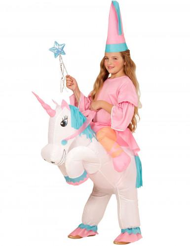 Aufblasbares Prinzessin auf Einhorn Kinderkostüm weiss-rosa-blau