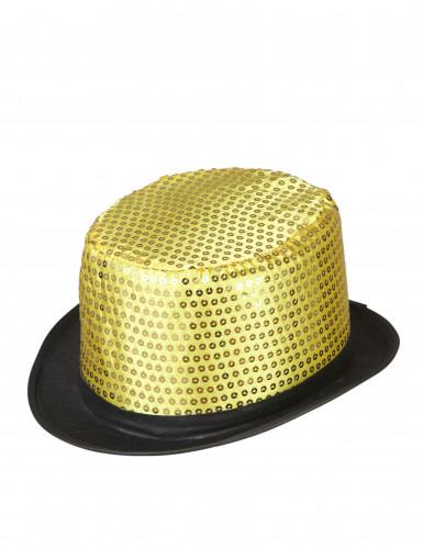 Pailletten-Zylinder Party-Hut schwarz-gold