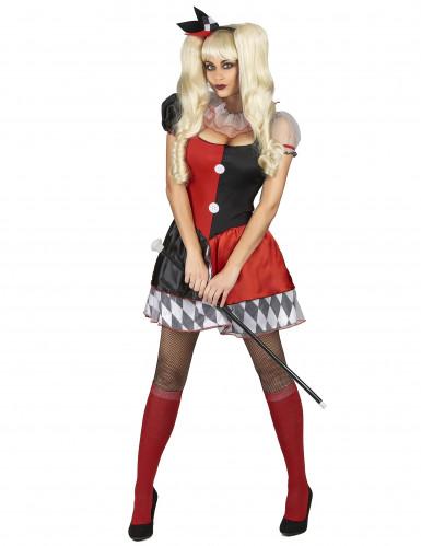 Irres Harlekin-Damenkostüm rot-schwarz