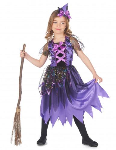 Hexen-Mädchenkostüm Zauberin lila-schwarz