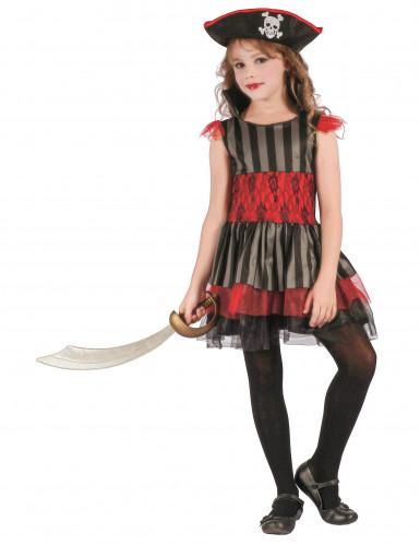 Piraten-Mädchenkostüm Freibeuterin schwarz-rot