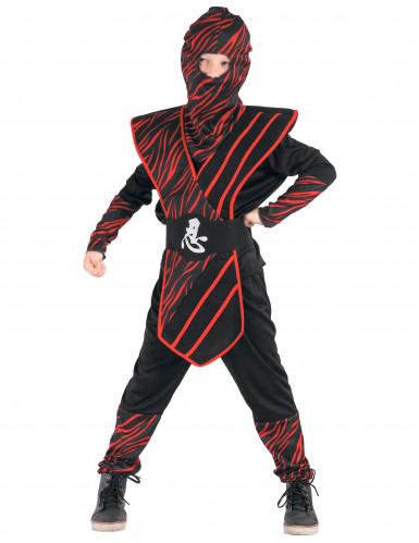 Klassisches Ninja Jungenkostüm schwarz-rot
