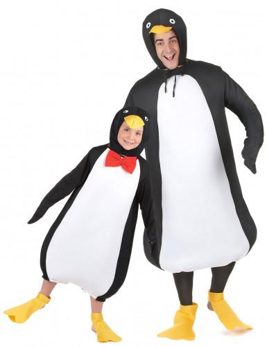 Pinguinkostüm für Eltern und Kind unisex schwarz-weiss-gelb