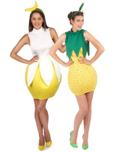 Freche Früchte-Paarkostüm für Damen Karneval gelb-grün-weiss