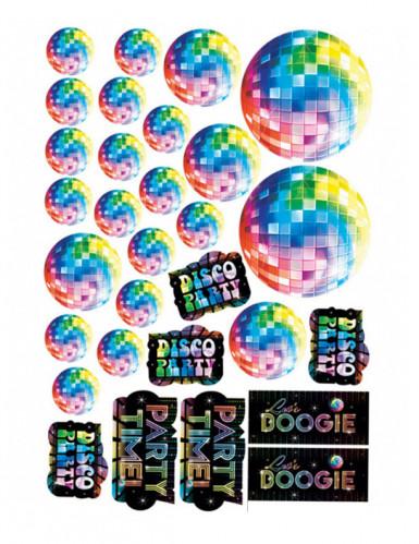 70er disco cut outs discokugel party deko set 30 teilig. Black Bedroom Furniture Sets. Home Design Ideas