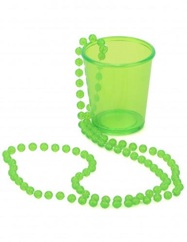 Schnapsglas mit Kette Party-Gadget neongrün