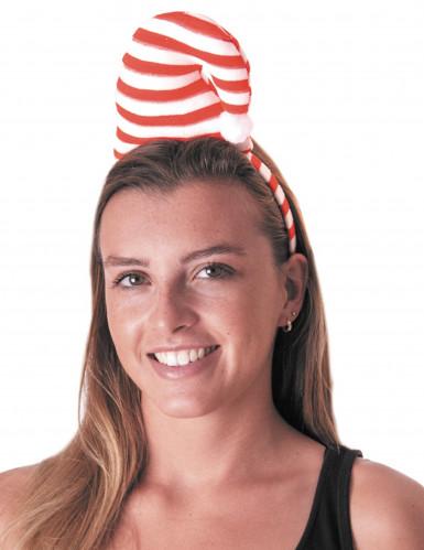Zuckerstangen Weihnachts-Mütze Haarreif rot-weiss