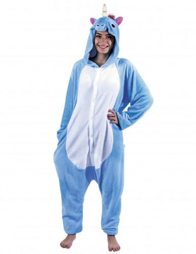 Süsses Einhorn Kostüm für Damen Einteiler blau