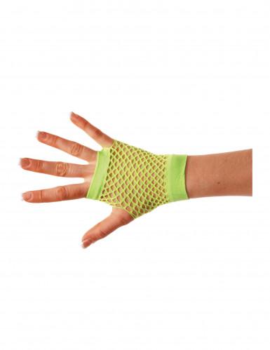 80er-Jahre Netzhandschuhe fingerlos neongrün